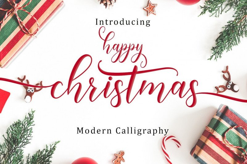 Happy Christmas Calligraphy Font - All Free Fonts